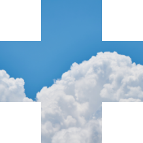 plus symbol containing blue sky and clouds